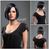 Wholesale Blue Bob Wig - glamour wigs bob wig european fashion wigs short black blue mix wig Synthetic fiber of 100% Kanekalon 1pc Lot Free Shipping 0729ZL7-2-F14