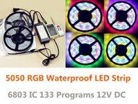 ingrosso controller rgb a strisce led-All'ingrosso-10m smd 5050 rgb led strip light impermeabile ip67 dream colorfull led strip 6803 ic + 12V 5A alimentatore + led controller