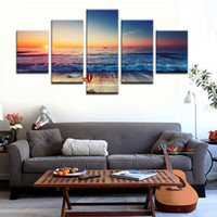 Wholesale modern picture frame set - 5Pcs Wall Art Set Modern Printed Sea Wave Painting Picture Canvas Art Seascape Painting Decorative Picture Living Room No Frame
