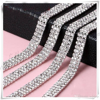 Wholesale Sparkle Trim - Wholesale-Wedding Decoration 10 yard 3Rows Rhinestone Crystal Chain Cake Ribbon SS12 Party Deco Sparkle Cup Chain Trim Sewing Accessories