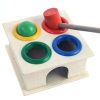 oyuncak kutuyu öğrenmek toptan satış-Ahşap Top + çekiç Çekiç Kutusu Çocuk Erken Öğrenme Eğitici Oyuncaklar Toptan Ücretsiz Kargo