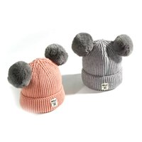 Wholesale Pink Newborn Hats - Children Wool Knit Hat Winter Hat Warm Cute Ball Helmet Hat