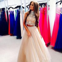 Wholesale Sexy Dance Long Dresses - Two Piece Prom Dresses Champagne Tulle Long Prom Dressess High Neck Bling Bling Crystals Beaded Sweet 16 Homecoming Formal Dance Gowns