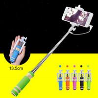 selbststichhalter großhandel-Mini Wired Selfie Stick Handheld tragbare Licht Schaum Einbeinstativ Falten Selbstporträt Stick Halter mit Kabel 0035CHR