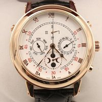 Wholesale Strap Duo - New arrived Automatic movement High quality sapphire glass white Duo dial leather strap wristwatch Sky Moon Tourbillon PP 5002P