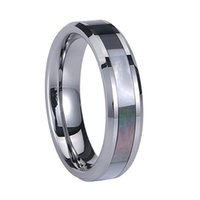 Small Wholesale Women Tungsten Carbide Anel Engagement Wedding Band Abalone Shell Inlay acabamento polido Step Edge