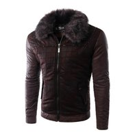 Wholesale Fall New Arrival Men Casual Design PU Jackets Long Sleeve Fur Collar Men Leather Coat High Quality Fashion Design