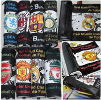 Wholesale Scroll Pencil Case - Wholesale-freeshipping new 2015 Stationery pen bag football fan supplies the new scroll pencil-case