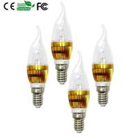führte kerzenbirnen schwanz großhandel-E14 E27 LED-Kerzenlampen mit Endstücken AC 85-265V 3W LED-Birnen mit 3pcs 1W LED bricht Aluminiumlegierungs-Material heißer Verkauf 096-3W RGB ab