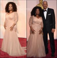 Wholesale Oscar Dress Knee Length - Oprah Winfrey Oscar Celebrity Red Carpet Dresses Champagne Mermaid Plus Size Long Sleeve Pleated Evening Mother Off Bride Dresses BO9521