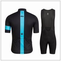 Wholesale Cheap Bicycle Pants - cheap Sky Cycling Jersey Set Short Sleeve With Cool Max Padded Bib Pants Polyester Elastic Bicycle Wear Anti Pilling Skinsuit For Men