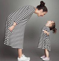 Wholesale Hot Seller Dress Girls - 2016 Spring And Summer Hot Seller Mother and Daughter Dresses White and Black Striped Cotton Maxi Dresses Girl and Lady Dress