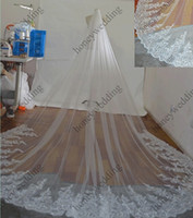 Wholesale Long Dress Lace Net - Cathedral Length Bridal Veils 3 Meter Wide 4 Meter Long With Sequins Lace Applique Free Comb White   Ivory Tulle Wedding Dresses Veil