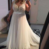größe 16 sehen durch kleid großhandel-Schöne A-Linie Spitze Brautkleider Günstige Tüll Brautkleider Nach Maß 2019 Sheer V-Ausschnitt Durchsichtig Zurück Plus Size vestidos longos