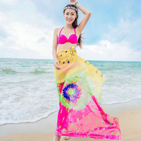 Sarongs Tie-dye Print Shaws Sexy Women Soft Sheer Chiffon Scarf Swimsuit Pareo Beach Cover Up Wrap Бикини Платье Шарфы