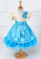 Wholesale Korean Selling Model - Children Dress Flower Princess Dress Girl Korean Edition Big Yards Bowknot Selling Flowers With Short Sleeves