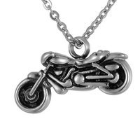 Wholesale Motorcycle Chain Necklace - Lily Stainless Steel Vintage Silver Motorcycle Charm Cremation Jewelry Ashes Pendant Keepsake Memorial Urn Necklace With Gift Bag And Chain