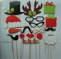 Wholesale Christmas Stick Photo Props - 17 pcs lot DIY Photo Booth Props Mustache Lip Hat Antler Gift Stick Christmas Party