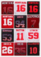 New 100% Stitched Jerseys Stitched 16 Joe Montana Red 80 Jerry Rice Jersey Loghi ricamo sport Maglie MIX ORDINE jersey