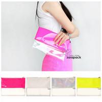 Wholesale Handbag Neon - Wholesale-Designer Wholesale Neon Hologram Two Tone Transparent Women Handbag Clutch Purse IT Bag Multi Color Free Shipping