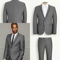 Wholesale Ties For Best Men - Modest Lapel Business Men Suits for Wedding Groom Tuxedos Best Man Bridegroom Wedding Suits Groomsmen Suits (Jacket+Pants+Vest+Tie)