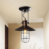 Wholesale Country Lamp Shades - Wholesale-Village Retro Ceiling Lights American Country Style Corridor Balcony Loft Lamp Iron Spray Painting Process Glass Lamp Shade