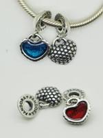 Wholesale European Charm Dangle Blue - 925 Sterling Silver Piece of My Heart Mother & Son Dangle Pendant Bead with Blue Red Enamel Fits European Pandora Charm Bracelet