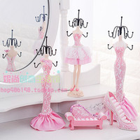 Wholesale Shoes Ring Jewelry Display - Pink High-heel Shoe Dress Mannequin Jewelry Organizer Display Stand Hanging
