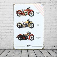 Wholesale Home Decoration Plaque - Indian America's Motorcycle TIN SIGN Vintage Garage Metal Painting Plaque Bar Home Wall Decor