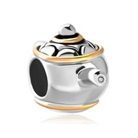 Wholesale Teapot Charm Gold - Fashion women jewelry European style cute 2 toned plating teapot metal spacer bead lucky charms fits Pandora charm bracelet
