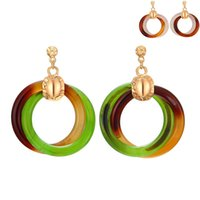 Wholesale Chunky Lucite Rings - 2018 New Hoop Earrings Chunky Ring Drop Earrings Unique Designer Earrings Fashion Jewelry For Ladies Factory Direct Sale