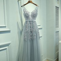 Wholesale Grey Sequined Evening Dress - Sexy Deep V Neck Silver Grey Prom Dresses 2017 New Appliqued Open Back Sleeveless Formal Party Gowns Celebrity Pageant Dress Evening Dresses