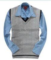 Wholesale Polo Vest Xl Black - Wholesale-Man Vest Polo Sweater Brand Sweaters Polo Man Vest Sweater Small horse Sleeveless Sueter High Quality V neck Classic Stripe
