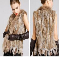 Wholesale Thin Fur Vest - Ladies Genuine Knitted Rabbit Fur Vest Raccoon Fur Trimming Tassels Women Fur Natural Waistcoat Lady Gilet colete pele new arrive free shipi