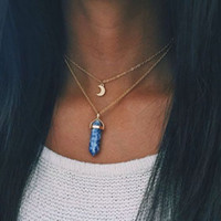 Wholesale Color Stones Jewelry - necklace Fashion jewelry 1PCnatural stone moon choker necklace fashion gold color crystal pendant necklace for women