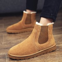 Wholesale Wedding Heels Boot Style - Wholesale Warm Shoes With Fur Inside Men Boots Brand Winter Discount Prices England Style Wedding New Fashion Ankle Brown Leather Snow Boots
