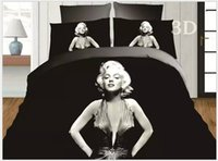 Wholesale White Queen Size Quilt - 3D Marylin marilyn monroe bedding set black and white quilt duvet cover queen size double sheets bedspreads bed linen bedsheet