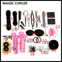 Fabricante De Cuerdas Baratos-Magic Curler 20 Modelos / Sets Elastic Rubber Rope Hair Braider Girl Mujeres Magic Braiders Clip Stick Maker Trenza Beauty Modeling
