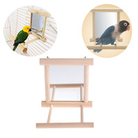 Wholesale Conure Toys - Pet Bird Mirror Wooden Play Toy with Perch For Parrot Budgies Parakeet Cockatiel Conure Finch Lovebird