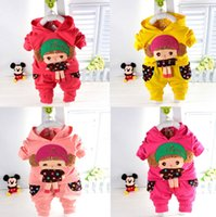 Wholesale Children S Clothing For Girls - Spring Autumn Children Clothing Girl's Lovely Girl Pattern clothes Suit Hoodie+Pants 2pcs 4 Colors for choose 4 s lot