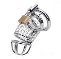 Wholesale Male Chastity Chrome - Male chastity Metal Bondage Cage Chrome Finished Restraint Tube Device Stainless Steel Chastity Device Locking Sex toys