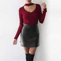 Wholesale Wholesale Hang Sweaters - Wholesale- 2017 Autumn Women Knit Casual Long Sleeve Pullover Outwear Tops Hanging V-neck Solid Sweater Sexy Femme Fashion Streetwear Se29