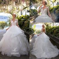 camadas do vestido de casamento do vestido de baile venda por atacado-Camada Plissado Saias Sem Encosto De Casamento Vestidos 2018 Ilusão Mangas Compridas Appliqued Vestidos De Baile De Casamento Vestidos de Noiva Árabe Do Vintage