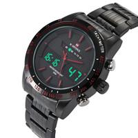 Wholesale Reloj Led Hombre - NAVIFORCE 9024 brand men's wristwatch, Sport dual display GMT Digital LED reloj hombre Army Military watch relogio masculino