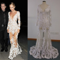 Wholesale Sexy V Neck Sleeves Dress - Celebrity Dresses Real Images Sheer candice swanepoel Ivory Lace Appliques over Illusion Nude Tulle Long Sleeve Evening Gowns