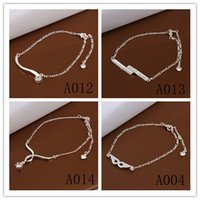Wholesale Mixed Silver Anklet - Mixed Order 12pcs lot 925 silver plated rhinestone crystal anklets fashion classic jewelry for women free shipping