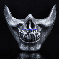 Wholesale Military Cosplay - Tactical Military Skull Skeleton Half Face Mask Hunting Costume Party masquerade mask cs games cosplay props