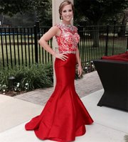Wholesale Embellished Chiffon Dress Pink - 2015 Gorgeous Beaded Red Mermaid Prom Dresses Bateau Neck Lace Rhinestone Embellished Satin Court Train Evening Gowns Pageant Dress