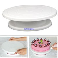 Wholesale White Bakeware - hot sale Brand New 28cm Kitchen Cake Decorating Icing Rotating Turntable Cake Bakeware Stand White Plastic