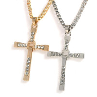 The Fast and Furious Crystal Cross Uomo Collane Pendenti Argento Colore Maxi Steampunk Collares Vintage Statement Necklace